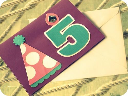 i'm 5 bday card