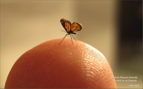 Itty Bitty Hand-Made Miniature Monarch Butterfly - 1:24 Scale