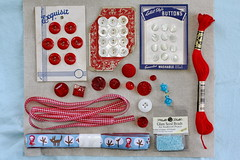 Dissecting My Stash: Red, White & Blue (green ink) Tags: vintage beads buttons ribbon