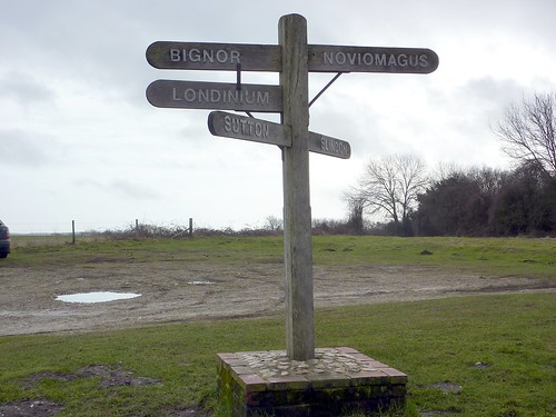"""Roman"" signpost on the Slindon Estate"