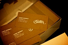 Foil Stamped Butter Cards (scottboms) Tags: california white toronto logo design cardboard businesscards iphoto projects grainy letterpress ef50mmf18 butterlabel foilstamped