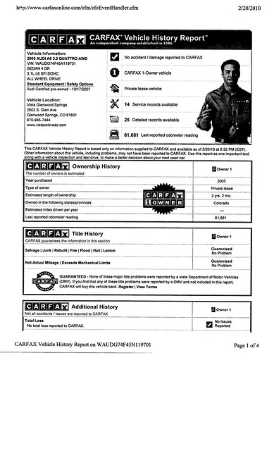 2005 audi a6 carfax bluebook