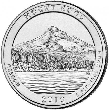 25 Centov USA 2010D Mount Hood the Beautiful Quarter