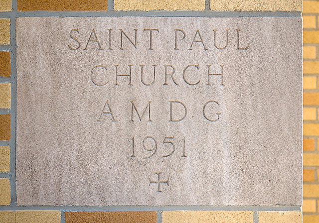 Saint Paul Roman Catholic Church, in Highland, Illinois, USA - cornerstone