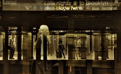 NYC Subway. (ShanLuPhoto) Tags: city nyc newyorkcity people usa newyork sepia america underground subway downtown metro loolooimage