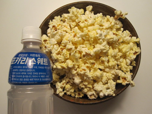 Pocari Sweat and popcorn