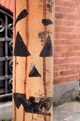 halloween bollard (moocatmoocat) Tags: street art philadelphia halloween face jack bollard olantern