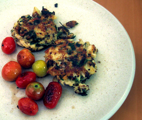 cod fishcakes with seared tomatoes