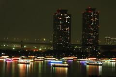 tokyo1392 (tanayan) Tags: city urban japan night tokyo town nikon ship cityscape view d70 houseboat   daiba  yakatabune