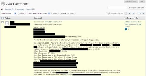 Press Release Spam - 11/16/09