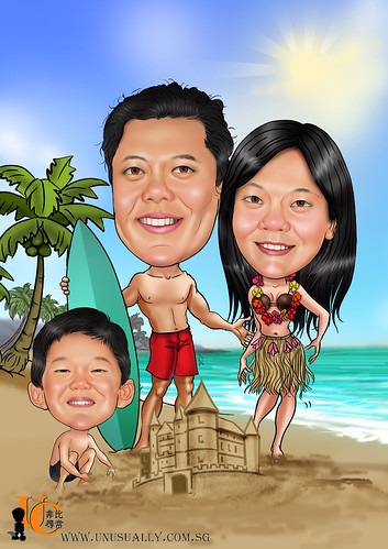 FULLY CUSTOMIZED CARICATURE DRAWING - WWW.UNUSUALLY.COM.SG