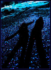 J & J shadows 1 (calamityjan2008 ....somany galleries!) Tags: blue girls black colour beach rocks shadows purple silhouettes driftwood intensecolour purplerocks thingstodoatthebeach girlsshadows vividstriking