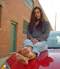 Barefoot on the hood (RoughToughSoleMan) Tags: girls woman cars car female fetish foot high women toes bare dry arches heels latina rough tough soles ebony cracked stomping trampling arched calloused