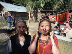 Tattooed Apatani women in Hong, Arunachal Pradesh (Stereomania) Tags: woman india tattoo lumix traditional tribal tattoos tribe northeast pradesh arunachal panasoni noseplugs