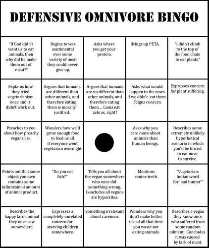 Defensive Omnivore Bingo Game On Vegan Daemon