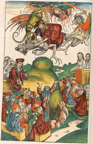 Fighting devils in Hartmann Schedel's Liber Chronicarum, 1493 (p. 598)