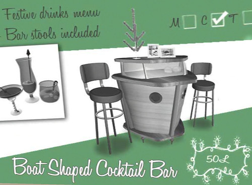 50L Friday Blonde Boat Shaped Cocktail Bar