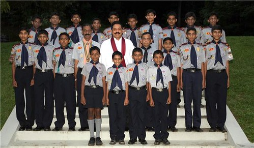 Sri Lanka President Mahinda Rajapaksa  with the Sri Lankan Scout team  who leave the country for  Asia Pacific Regional Jamboree in Philippine this year.