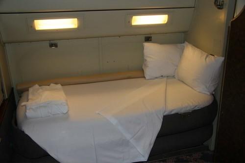 Private Rail Car - Silver Rapids, bedroom & bathrobe