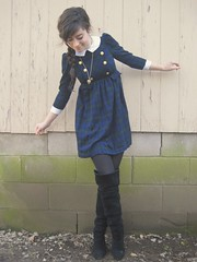 military dress and black boots (bloomingleopold) Tags: blue winter black green vintage nashville urbanoutfitters tights plaid braid forever21 cuffed thrifted doublebreasted goldbuttons suedeboots overthekneeboots kimchiblue militarydress bloomingleopold goldheartlocket