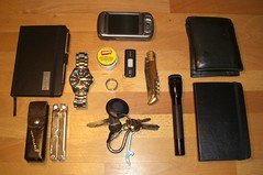 my_EDC_30_01_10 (koshmopolitan) Tags: leatherman keys fossil phone wallet watch knife tools usb flashlight edc carmex hermes tool everydaycarry htc usbstick laguiole maglight trion