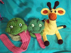 101_1030 (CrazyHatSociety) Tags: charity green animals yellow haiti hats frogs giraffes etsy donations ravelry crazyhatsociety crazyhatsocietyetsycom