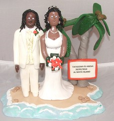 Tropical Wedding in Abu Dhabi (pauline@weddingtreasures) Tags: family wedding cake figurines clay palmtree sculpey toppers polymey
