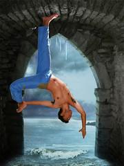 Bat-asana? (ξωαŋ ThΦt (slowly back...)) Tags: selfportrait man water yoga bat dude natarajasana thedantecircle