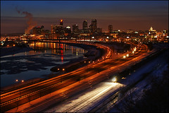 saint paul minnesota mn downtown sunset skyline (Dan Anderson.) Tags: city winter light sunset snow ice minnesota skyline night train river mississippi evening frozen downtown metro tracks stpaul capitol twincities saintpaul overlook mn daytonsbluff moundspark indianmoundspark frozemyarseofftakingthisshot