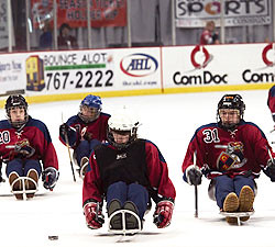 four people in uniforms and helmets on hockey sleds