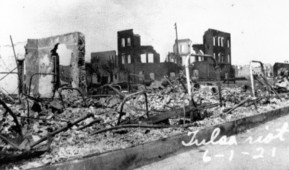 The ruins of Freemont Street in the affluent black suburb of Greenwood in Tulsa Oklahoma in May of 1921.