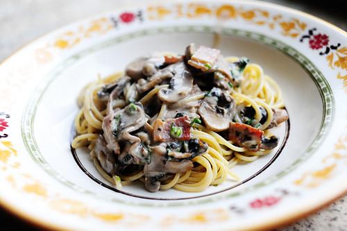 heart} Food: Mushroom Pasta with Bacon