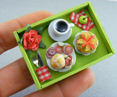 Green Breakfast (Shay Aaron) Tags: wood pink red food orange house flower green apple scale kitchen coffee rose breakfast miniature healthy doll tea handmade aaron fake mini sandwich polymerclay fimo tiny brunch faux shay tray tart 12th 112 salami dollhouse petit lunchbreak breakfastinbed twelfth shayaaron