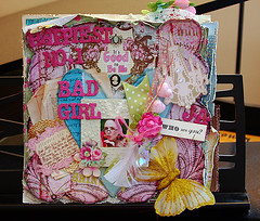 Happiest Bad Girl (DT Coordinator!!!) (julie_ann_shahin) Tags: flowers glitter butterfly scrapbook layout feather chandelier page frame ribbon whoareyou badgirl happiest aboutme journaling thickers badgirlskits happiestbadgirl