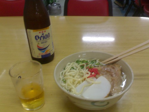 Soki Soba noodles, Goya Champuru & Orion Beer
