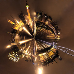 Westminster Bridge polar panorama (charliedotgilbert) Tags: panorama reflection london millenniumwheel night reflections mod housesofparliament londoneye bigben southbank portcullishouse planet polar riverthames whitehall westminsterbridge victoriaembankment londonaquarium londonist ministryofdefence stthomashospital