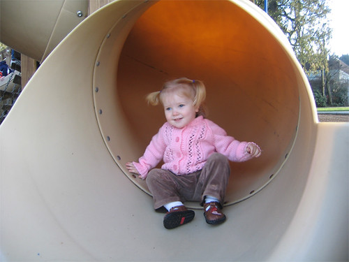 Riding the big kid slide