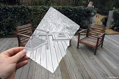 Pencil Vs Camera - 1 (Ben Heine) Tags: world life wood art texture paper table relax 1 design sketch photo vanishingpoint chair experimental time drawing mixedmedia finger surrealism perspective creative terrasse surreal poetic patio simplicity series continuity conceptual simple dimension opticalillusion minimalist hold imagen vélo croquis number1 littlebike theartistery benheine anawesomeshot drawingvsphotography 2dvs3d flickrunited pencilvscamera imaginationvsreality diasecprint