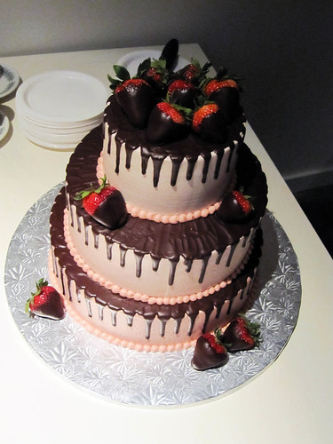 Glorious Neapolitan cake—layers of chocolate and white cake with strawberry