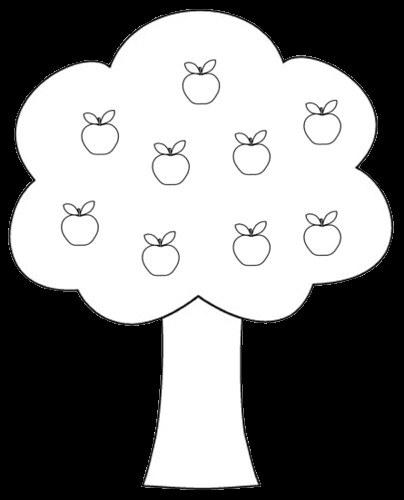 apple tree clipart to color 14 cm - Apple Tree Coloring Page