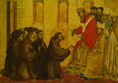 Giotto, St. Francis of Assisi Receiving the Stigmata, c. 1295-1300 with detail of the approval of the order