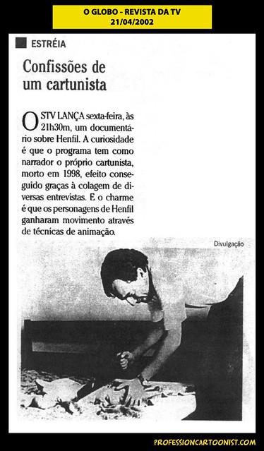 """""""Confissões de um cartunista"""" - O Globo - 21/04/2002"""