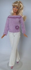 Lilac knitted jumper with crocheted flower (MeBusyBee) Tags: flower ken barbie lilac knitted