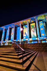 Library Stairs (evangelique) Tags: house color colour building festival museum architecture night dark lights colorful gallery bright dusk library capital australia parliament science projection national canberra colourful act enlighten electriccanvas