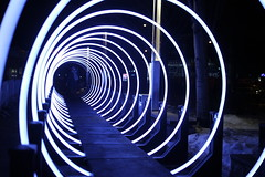 Serge Maheu, Passages, 2017 (art_inthecity) Tags: iluminart artpublic publicart montréal montreal canada lightinstallation installationart installationlumineuse interventionurbaine quartierdesspectacles québec quebec art lumière light passage bleu blue circle cercle gateway sergemaheu people personnes