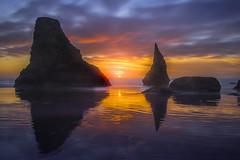 Bandon Beach Sun Glory (kevin mcneal) Tags: bandonbeach sunset oregon oregoncoast southernoregoncoast beach haystack coastalimages pacificnorthwest