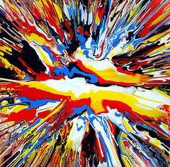 Abstract Acrylic Multi-Colour Painting (markchadwickart) Tags: blue red white black color colour art yellow painting square movement colorful paint artist mark spin paintings explosion large vivid move fluid layers colourful explode multi chadwick