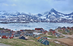 Tasiilaq Greenland at Night (christine zenino) Tags: mountains europe village arctic greenland glaciers inuit polar fjords arcticcircle grnland dogsled grnland groenland groenlandia eastgreenland angmassalik tasiilaq grnland ammasalik  tasiilaqgreenlandtravelguide greenlandtravelguide villageoftasiilaq greenlandichuskypuppy inuitvillage