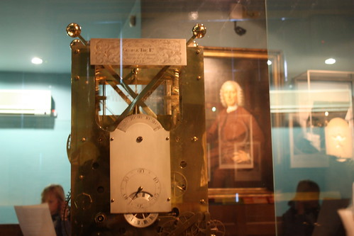 This was one of Harrisons earlier clocks, with his portrait in the background.