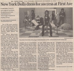 11/14/06 New York Dolls/Supersuckers/The Charms/Chesterfield Kings @ Minneapolis, MN (Newspaper Article)